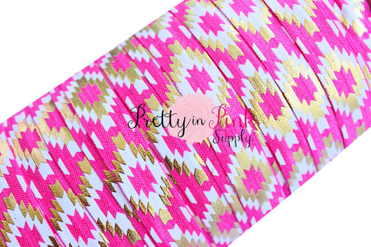 Southwest Aztec Hot Pink, White, and Gold - Pretty in Pink Supply