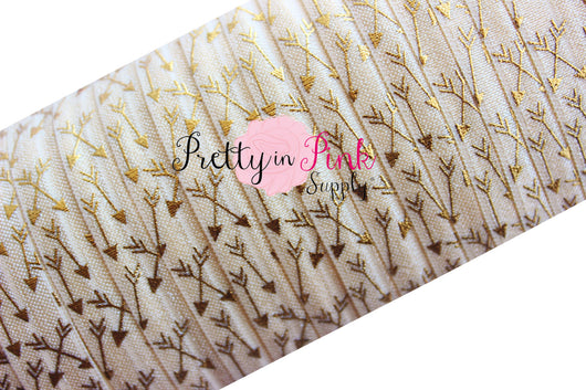 Ivory with Gold Metallic Arrows Print Elastic - Pretty in Pink Supply