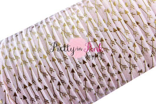 Baby Pink with Gold Metallic Arrows Print Elastic - Pretty in Pink Supply