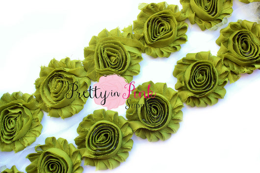 Avocado Green Shabby Rose Trim - Pretty in Pink Supply