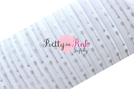 White with Silver Straight Arrow Metallic Print Elastic - Pretty in Pink Supply