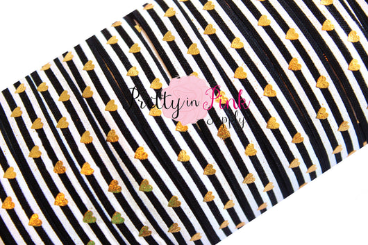 Black and White Stripe Gold Metallic Heart Print - Pretty in Pink Supply