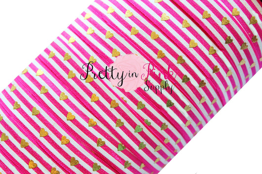 Hot Pink and White Stripe Gold Metallic Heart Print - Pretty in Pink Supply