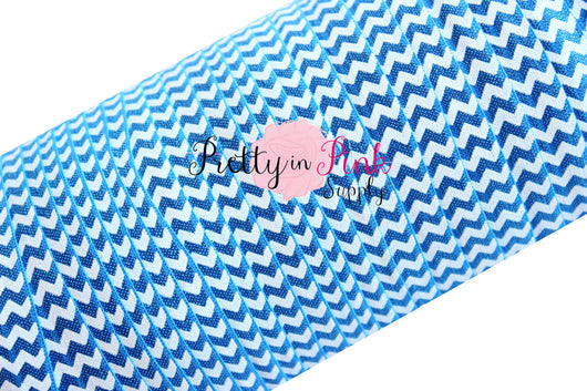 White Chevron on Cobalt Blue Print Elastic - Pretty in Pink Supply