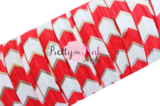 Red, White and Silver Wide Chevron Metallic Print Elastic - Pretty in Pink Supply