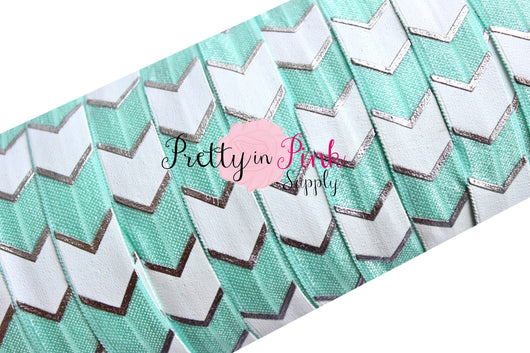 Light Aqua, White and Silver Wide Chevron Metallic Print Elastic - Pretty in Pink Supply