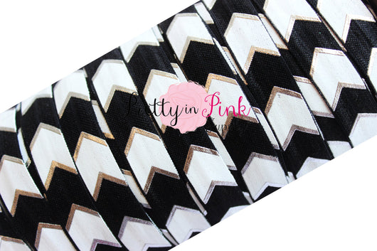 Black, White and Silver Wide Chevron Metallic Print Elastic - Pretty in Pink Supply