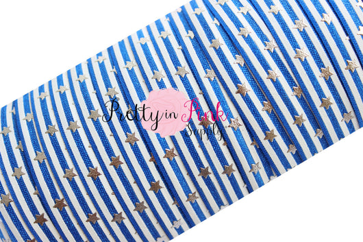 Royal Blue Stars and Stripes Silver Metallic Print Elastic - Pretty in Pink Supply