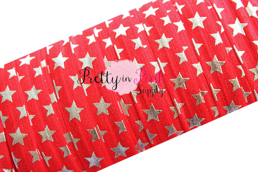 Red Silver Metallic Stars Print Elastic - Pretty in Pink Supply