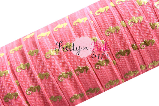 Coral and Gold Metallic Sea Horse Print Elastic - Pretty in Pink Supply