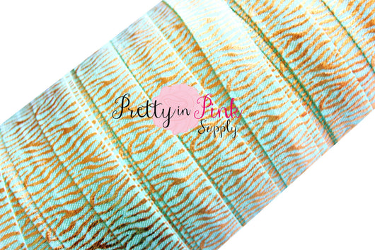 Mint with Gold Metallic Zebra Stripe Print Elastic - Pretty in Pink Supply
