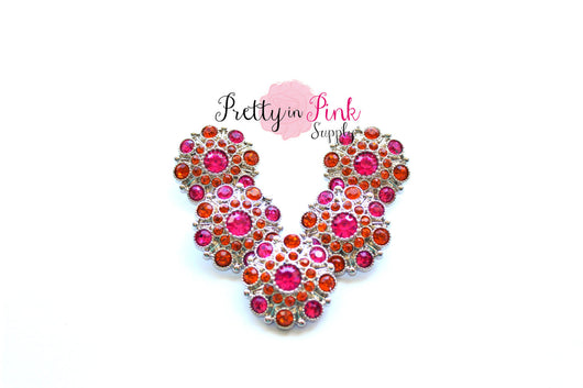 Royal Hot Pink and Orange Rhinestone Button - Pretty in Pink Supply
