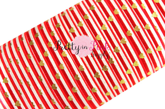 Red and White Stripe Gold Metallic Heart Print - Pretty in Pink Supply
