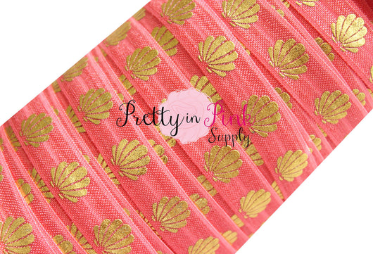 Coral and Gold Metallic Sea Shell Print Elastic - Pretty in Pink Supply