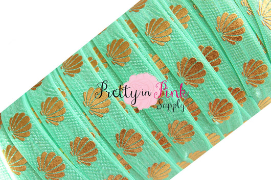 Mint and Gold Metallic Sea Shell Print Elastic - Pretty in Pink Supply