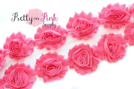 Coral Salmon Shabby Rose Trim - Pretty in Pink Supply