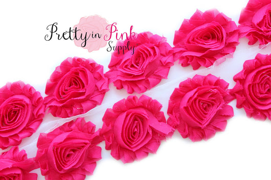 Shocking Pink Shabby Rose Trim - Pretty in Pink Supply