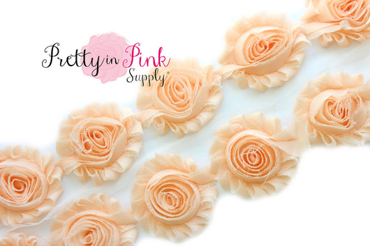 Pale Peach Shabby Rose Trim - Pretty in Pink Supply