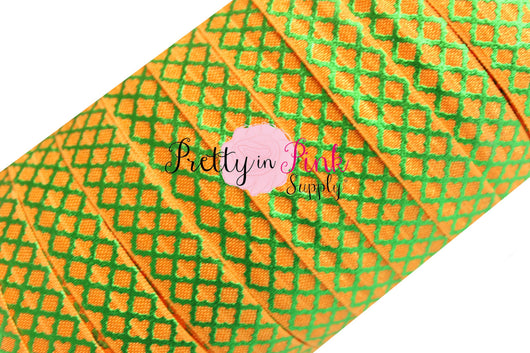 Orange with Green Metallic Quatrefoil Elastic - Pretty in Pink Supply