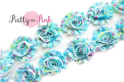 Light Blue Blooming Garden Shabby Rose Trim - Pretty in Pink Supply