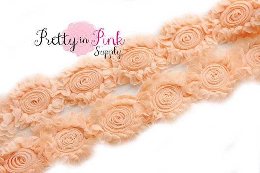 Chiffon Swirl Light Peach Shabby Rose Trim - Pretty in Pink Supply