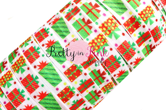 Christmas Gift Print Elastic - Pretty in Pink Supply