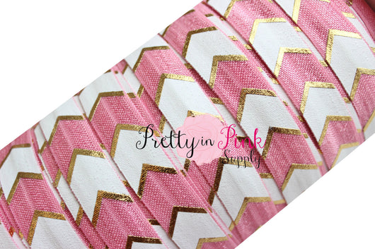 Dusty Rose, White and Gold Wide Chevron Metallic Print Elastic - Pretty in Pink Supply