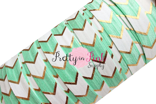 Mint, White and Gold Wide Chevron Metallic Print Elastic - Pretty in Pink Supply