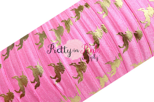 Bubble Pink with Gold Metallic Unicorn Elastic - Pretty in Pink Supply