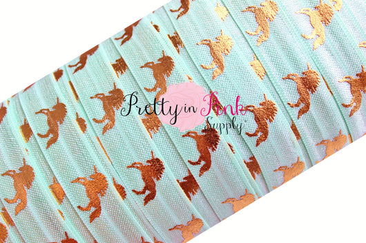 Light Aqua with Gold Metallic Unicorn Elastic - Pretty in Pink Supply