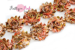 Tan/Orange PARADISE Shabby Rose Trim - Pretty in Pink Supply