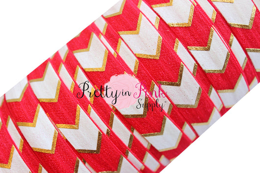 Red, White and Gold Wide Chevron Metallic Print Elastic - Pretty in Pink Supply