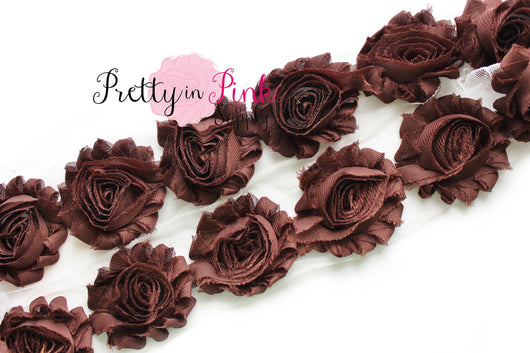 Brown Shabby Rose Trim - Pretty in Pink Supply