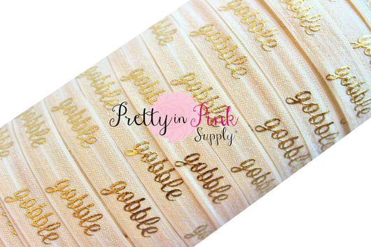 Ivory Cursive Gobble Gold Metallic Print Elastic - Pretty in Pink Supply