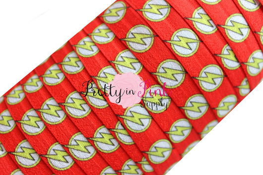 Red Yellow Lightning Super Hero Print Elastic - Pretty in Pink Supply