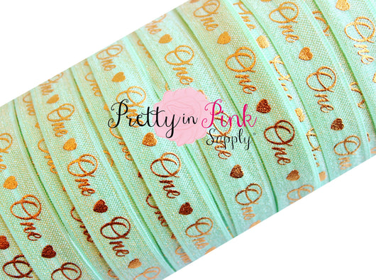 Mint Cursive One/Heart Gold Metallic Print Elastic - Pretty in Pink Supply