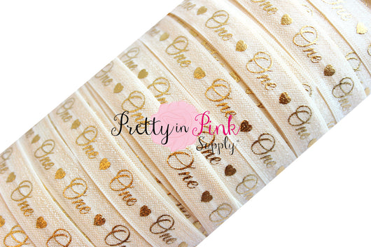 Ivory Cursive One/Heart Gold Metallic Print Elastic - Pretty in Pink Supply