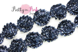 Navy with White Dot Shabby Rose Trim - Pretty in Pink Supply