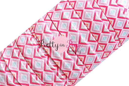 Light Pink/Hot Pink ZigZag Diamond Aztec Print Elastic - Pretty in Pink Supply