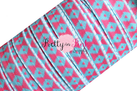Blue/Hot Pink Aztec Shapes Elastic - Pretty in Pink Supply