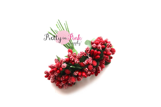 Red Frosted Berry Bead Stems - Pretty in Pink Supply