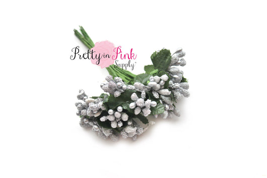 Silver Frosted Berry Bead Stems - Pretty in Pink Supply