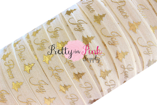 Ivory Cursive Peace, Joy, Love Gold Metallic Print Elastic - Pretty in Pink Supply