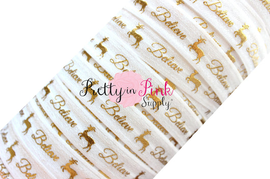 White Cursive Believe Gold Metallic Print Elastic - Pretty in Pink Supply