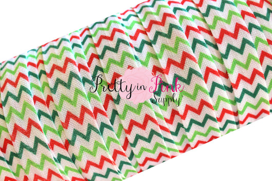 Christmas Chevron Print Elastic - Pretty in Pink Supply