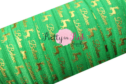 Emerald Cursive/Believe Gold Metallic Print Elastic - Pretty in Pink Supply