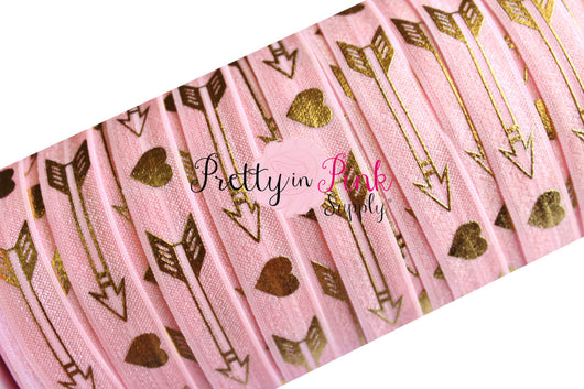 Light Pink Gold Metallic Love Struck Arrow Print Elastic - Pretty in Pink Supply