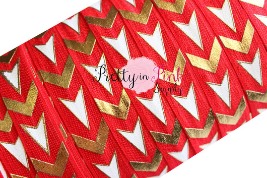 Red/White/Gold Chevron and Arrows Metallic Print Elastic - Pretty in Pink Supply