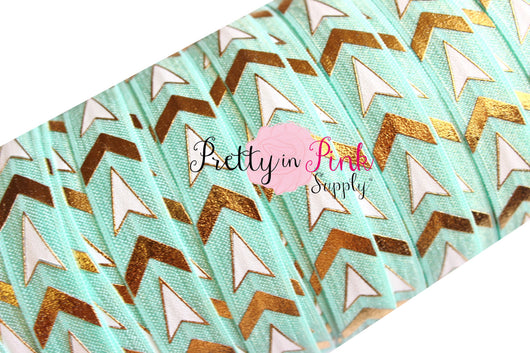 Light Aqua/White Chevron Arrows Metallic Elastic - Pretty in Pink Supply