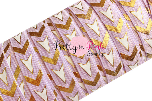 Lilac/White/Gold Chevron and Arrows Metallic Print Elastic - Pretty in Pink Supply